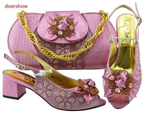 ce771c0c2 El oro Bolsos En púrpura Zapatos Doershow ¡setSbf1 Real Con Moda Emparejan  Nueva Bolso Mujeres ...