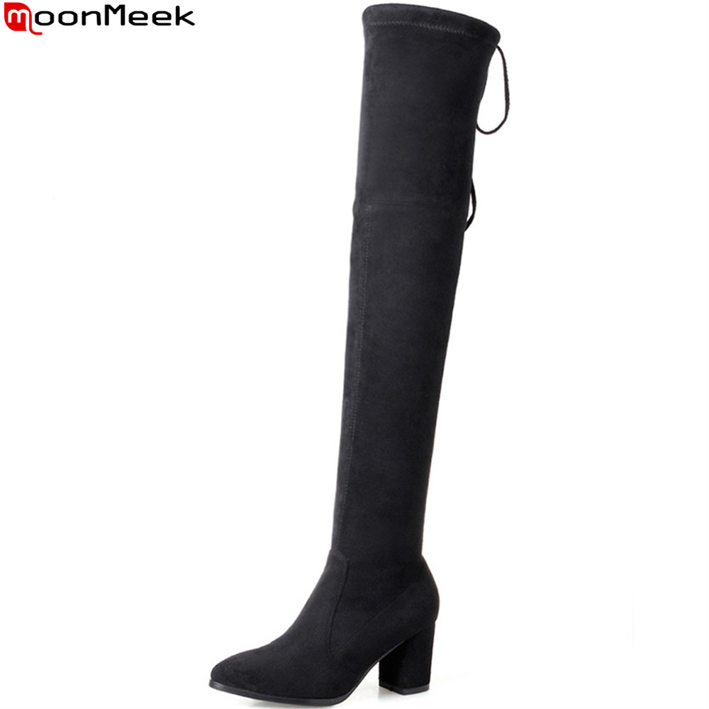 MoonMeek 2018 fashion new arrive women boots pointed toe ladies boots flock square heel cross tie over the knee boots new 2017 spring summer women shoes pointed toe high quality brand fashion womens flats ladies plus size 41 sweet flock t179