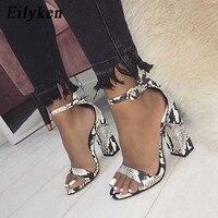 Eilyken/женские сандалии с ремешками на лодыжках со змеиным принтом на квадратном каблуке, модная женская обувь с острым носком, 2019 новые женск...