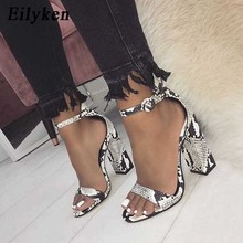 Eilyken Women Ankle Strap Sandals Snake Print Square heel Fa