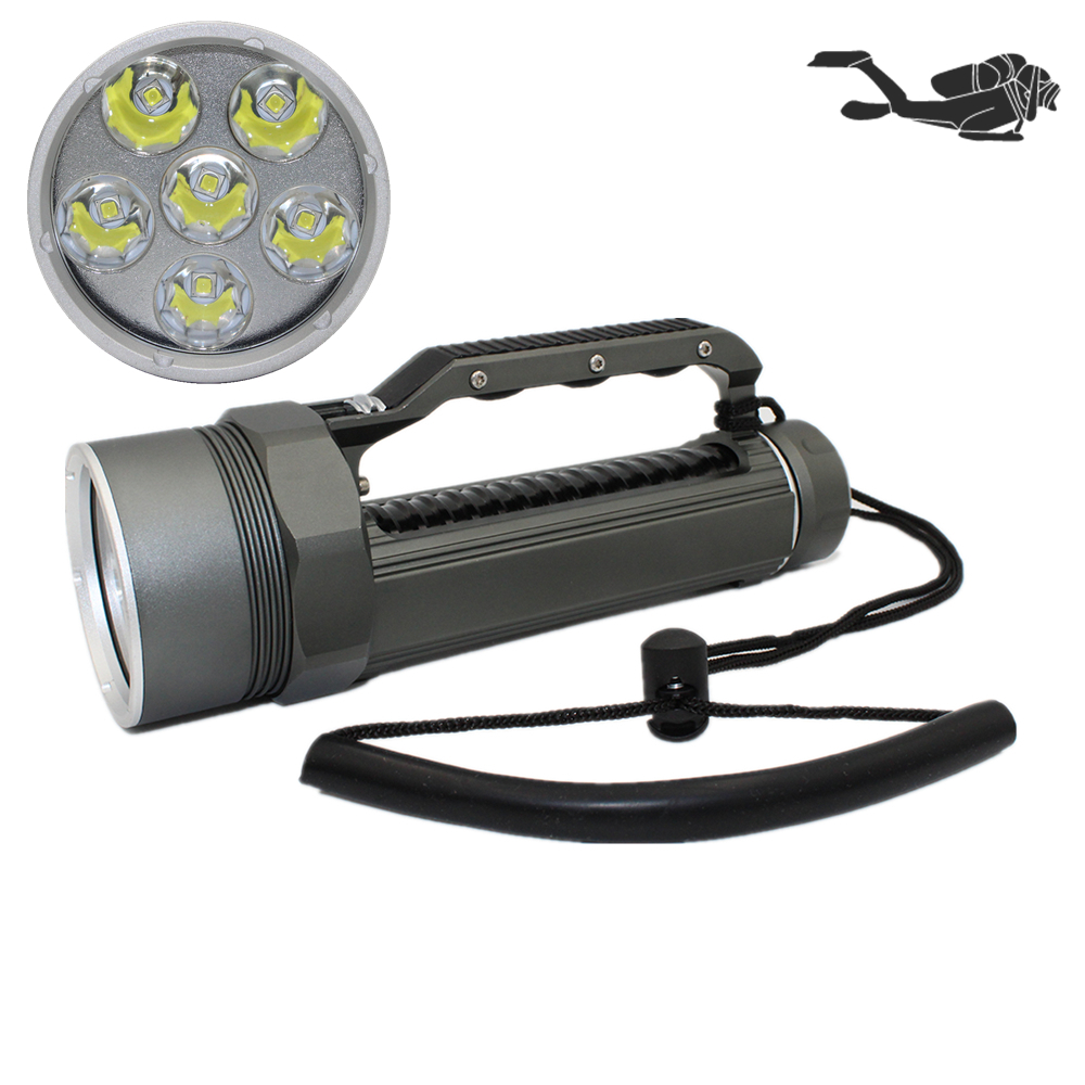 Powerful 6* XM-L2 Waterproof Dive Light Underwater 6000 Lumen Tactical LED Diving Flashlight 26650 Torch Lamp Lanterna