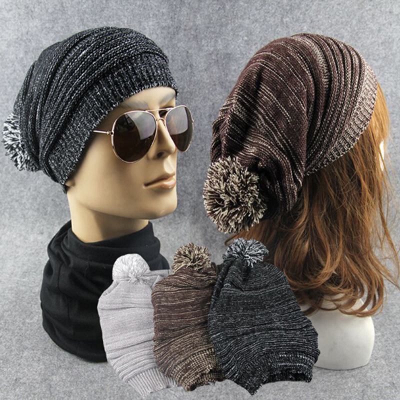Women Men Beanies Hats 2017 Simple Casual Mix Color With Hair Ball Knitting Wool Caps New Couples Winter Warm Unisex Accessories 2017 new wool grey beanie hat for women warm simple style bad hair day knitting winter wooly hats online ds20170123 x24