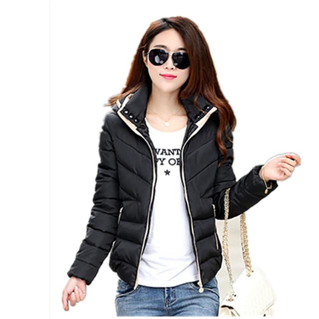 Nova moda Inverno Quente Magro Casacos Curtos Para Baixo Casaco Básico casacos Parka Mulheres Casacos de Inverno Mulheres Jaqueta Com Capuz Manga Longa casaco
