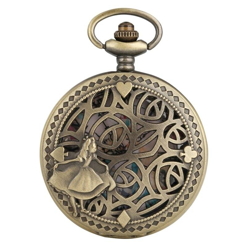 Antique Bronze Poker Cards Display Lovely Princess Quartz Pocket Watch Necklace Pendant Collection Souvenir Gifts For Women Girl