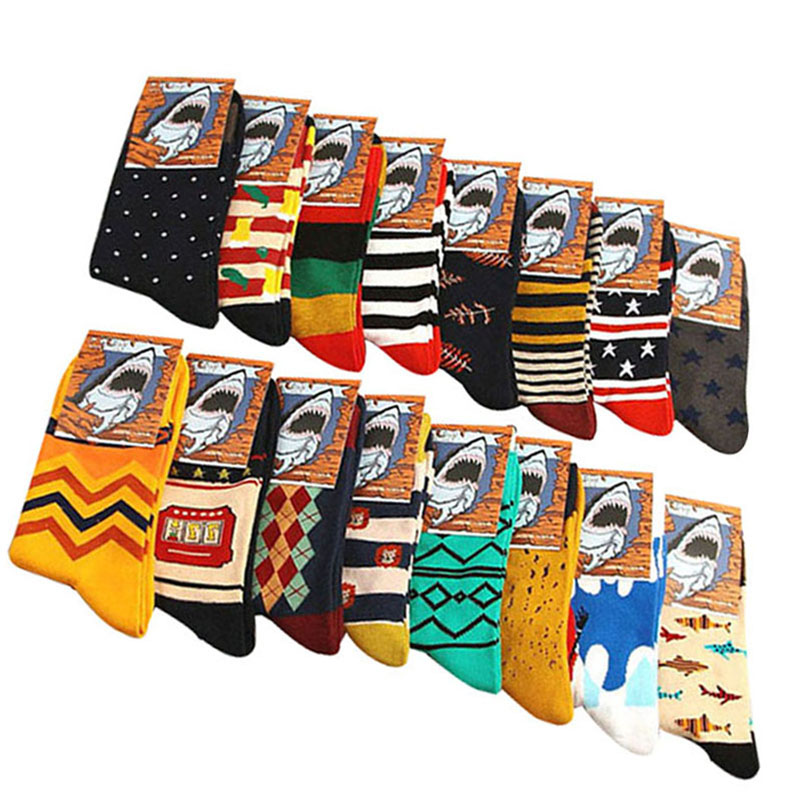 5 Pairs/lot Men Socks Combed Cotton Painting Cool High-end Casual Dress Funny Party Dress Crew Casual Durable Shaping Men Socks