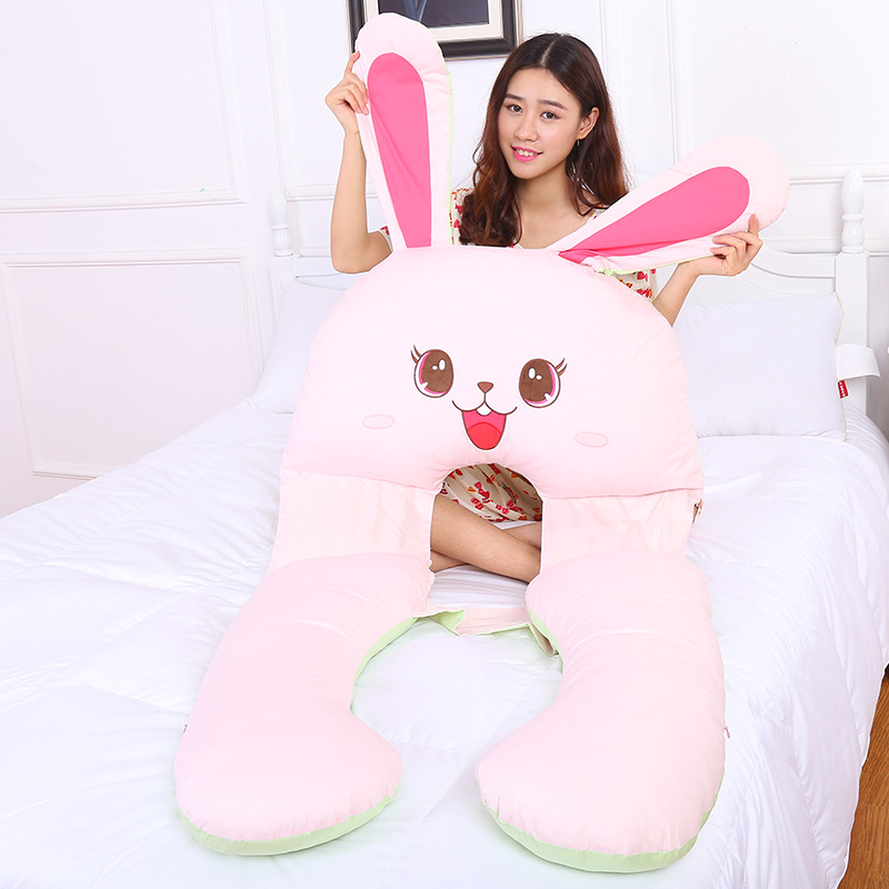 Rabbit Pillow for Pregnant Women Best for Side breastfeeding cover Breastfeeding Pillow baby side sleeping U Style hot sale maternity body pillow soft pregnant women sleeping belly back support comfy baby nursing breastfeeding pillow