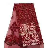 2018 Высокое качество Тюль кружевная ткань в африканском стиле Свадебные африканские французский кружево красное платье