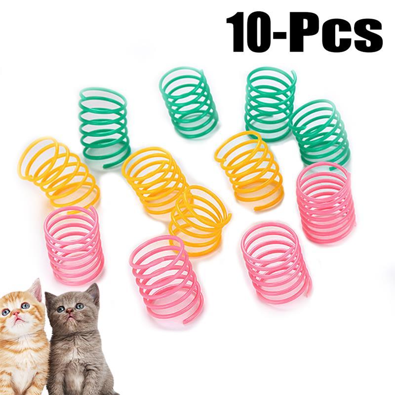 10 шт. милые весенние игрушки для кошек, широкие прочные пластиковые цветные пружины, игрушки для кошек, игрушки для котят, набор аксессуаров ...