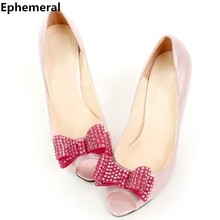 Slingbacks rhinestone bowtie customized handmade soft big size(4 to 14)  full genuine leather high heeled shoes in spring summer 941de1a6db64