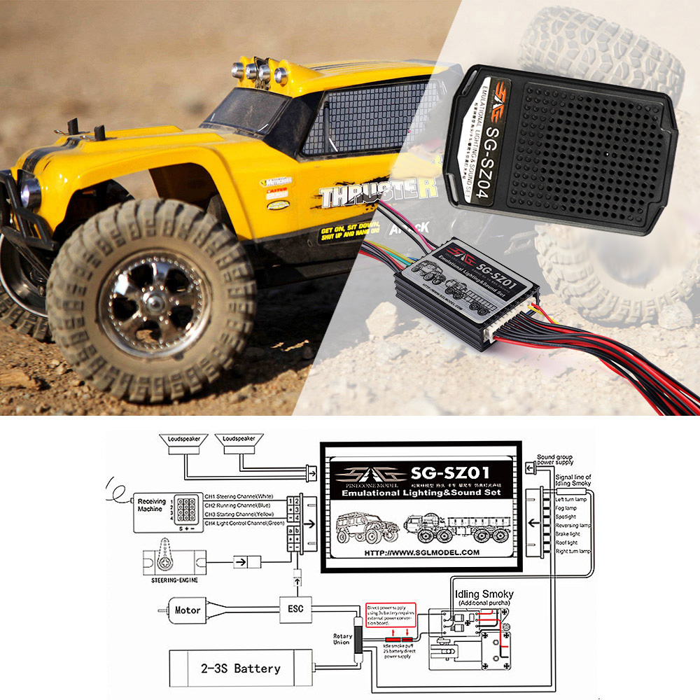 3in1 Engine Simulator System Emulational Lighting Smoke Sound Kit for Axial SCX10 Traxxas TRX4 Tamiya XB
