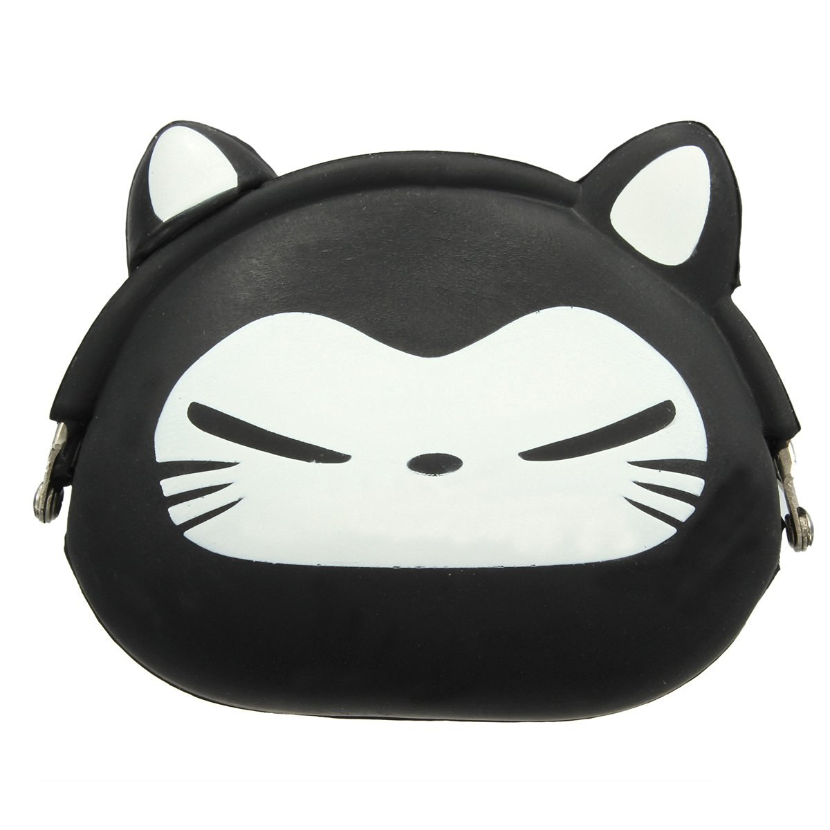 FGGS-Women Girls Wallet Kawaii Cute Cartoon Animal Silicone Jelly Coin Bag Purse Kids Gift Black Fox