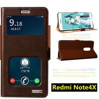 Top Quality Natural Genuine Leather Invisible Magnet Stand Flip Cover Case For Xiaomi Redmi Note 4X