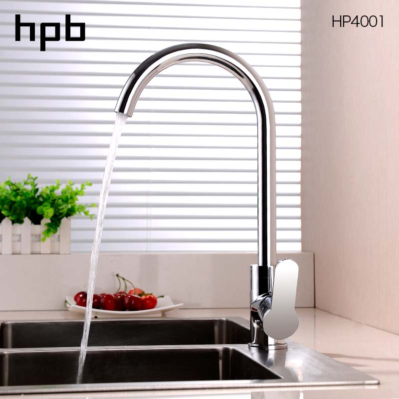 HPB Kitchen Faucet Kitchen Sink Faucet Mixer Tap Chrome Finished Single Handle Deck Mounted Water Tap