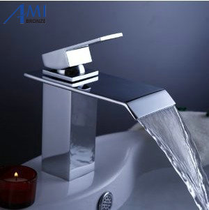 Bathroom sink basin mixer tap square chromed polished brass waterfall Faucet BF048 цена