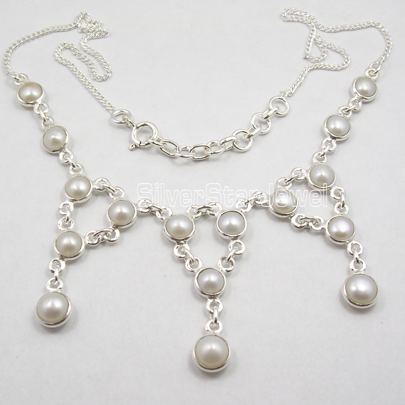 Chanti International Silver AAA WHITE SEA PEARL CHARMING Large Necklace 17 5/8 Inches sea horse 1 5 1 8
