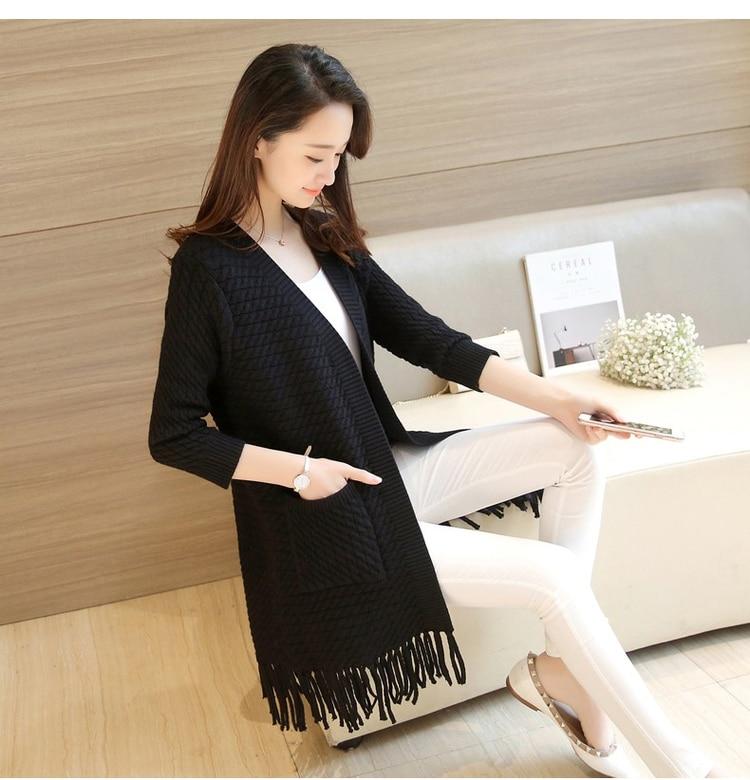 3XL Knit Female Cardigan New 2018 Autumn Fashion Tassels Woman Long Cardigan Coat Pocket V Neck Sweater Coat For Women 3