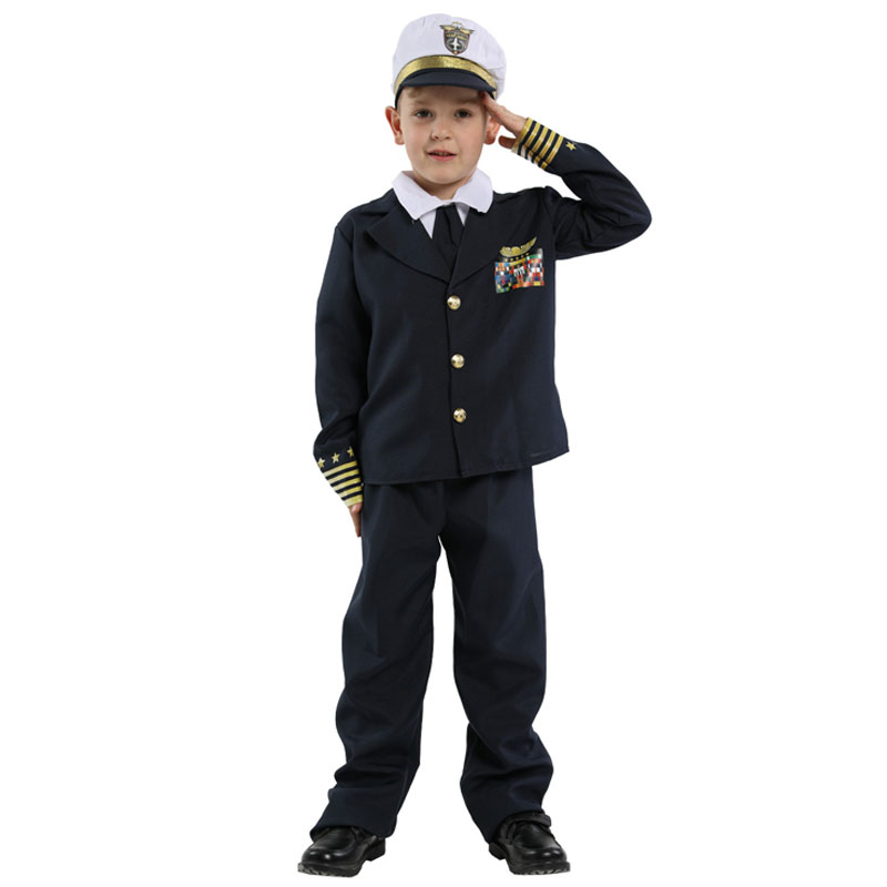 Kids Child Navy Admiral Captain Pilot Costume Uniform For Boys Halloween Purim Carnival Party Mardi Gras Fancy Dress