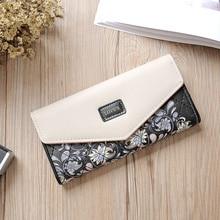 Wristlet Fashion Envelope Women Wallet Hit Color 3Fold Flowe