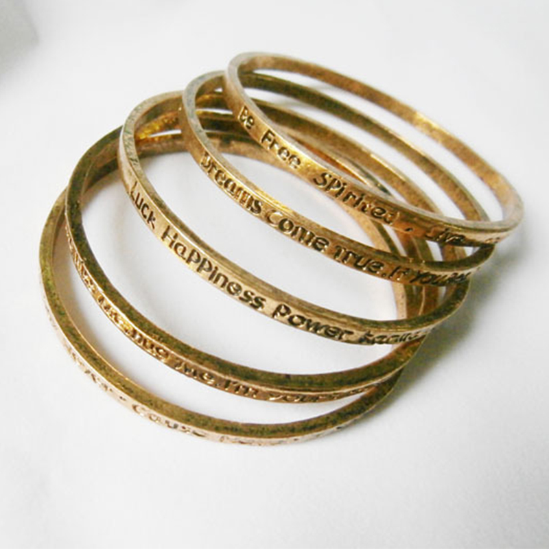 5 Patterns Golden Lettering Thin Bands Metallic Bracelets & Bangles for Women Diameter Around 6.5 cm