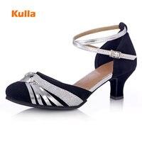 New Adult Flock Latin Dancing Shoes For Women Ballroom Tango Glitter Salsa Dance Shoes Scpe Donna Latino High Heels Shoes