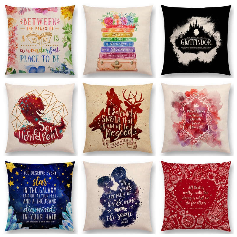 Hot Sale Hogwarts Magical Animals Horned Serpent Reading Books Love Dreams  Decorative Letters Fantasy Cushion Sofa Throw Pillow