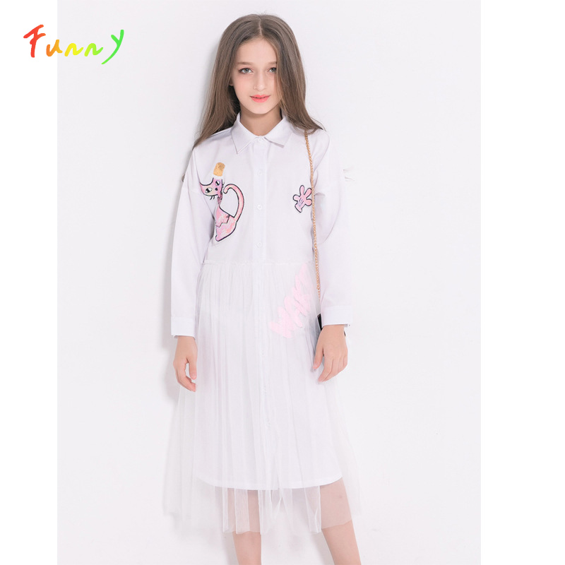Fashion Girls Long Sleeve Dress Cartoon Cat Sequined Mesh Dress Children Clothing White Spring Summer Dress for Teenage 6-14 Y