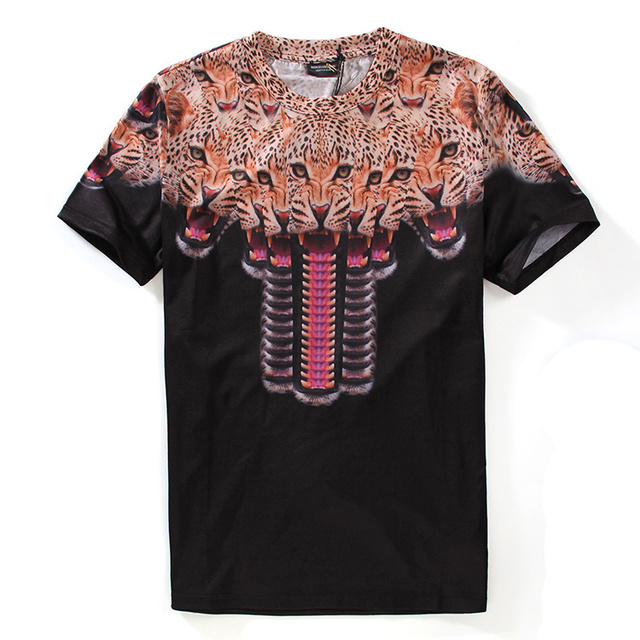 New Fashion Summer Style T Shirt Men Hd Leopards Printed T Shirt Men