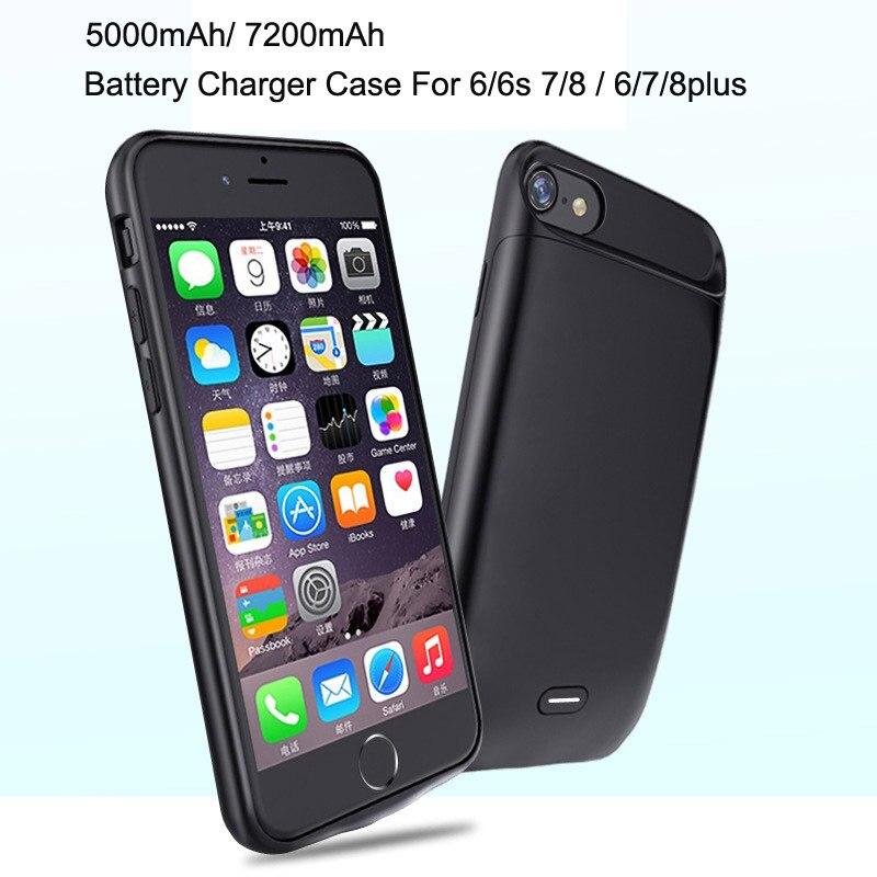 241adb04913 Funda de batería portátil 7200 mAh para iphone 6 s 7 8 plus Power Bank  funda para iphone 6/7/8 funda de cargador de batería externa de 5000 mAh