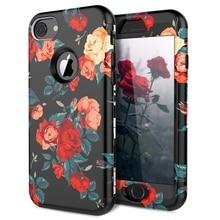 купить Luxury 3 in 1 Case For iPhone X Xs max XR 7 8 6 6s Plus 5 5s Se Hard Cover PC Silicone Bumper Shockproof Unicorn Flowers Case по цене 273.55 рублей
