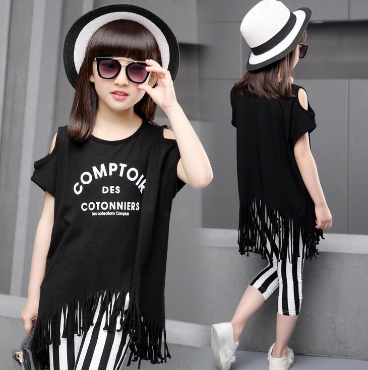 Summer Girls Clothing Sets Fashion Tassel Sport Suits Cotton Print Off The Shoulder Short Sleeve T-shirt and Capri Ropa Nino 2017 summer style girls clothing sets fashion cotton print short sleeve t shirt and denim shorts girls clothes casual suits