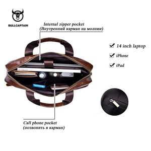 Image 3 - BULLCAPTAIN new fashion cowhide mens business briefcase / leather retro mens crossbody bag / casual business bag / handb