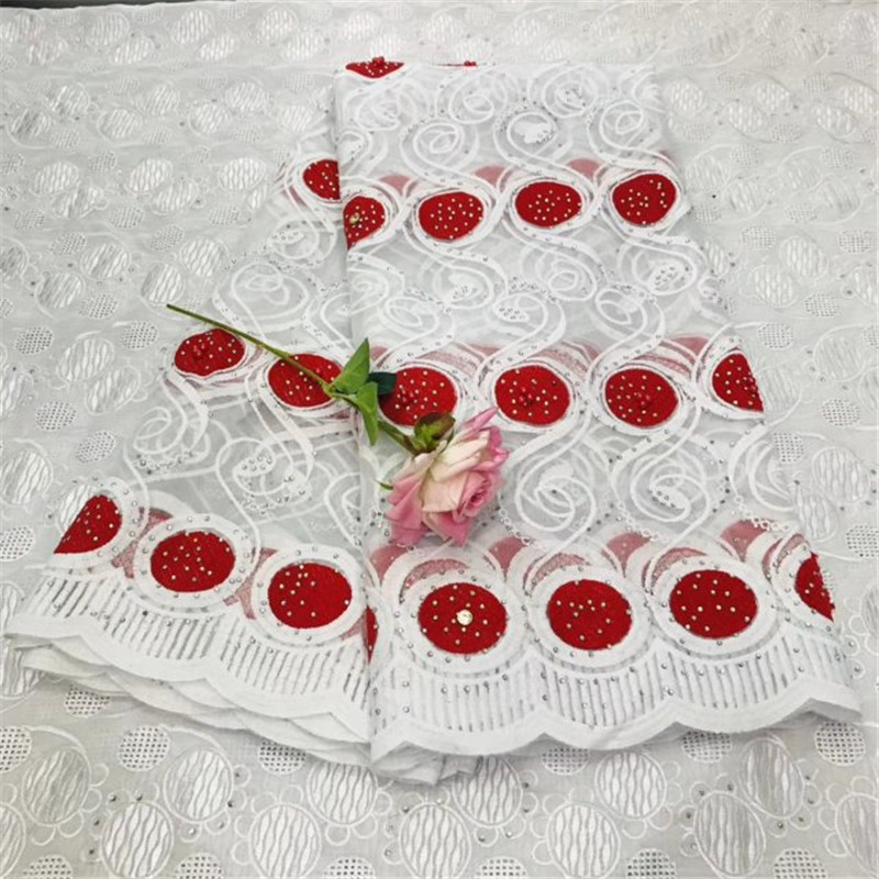 Women African Voile Lace Fabric 5 Yards Tulle Nigerian Lace Fabrics With Stones French Net Lace Fabrics For Wedding Dress Red