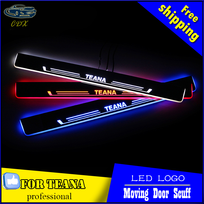 LED door sill for Nissan Teana 2013 2014 2015 2016 Led moving lights door scuff plate Car door light outside door welcome pedal