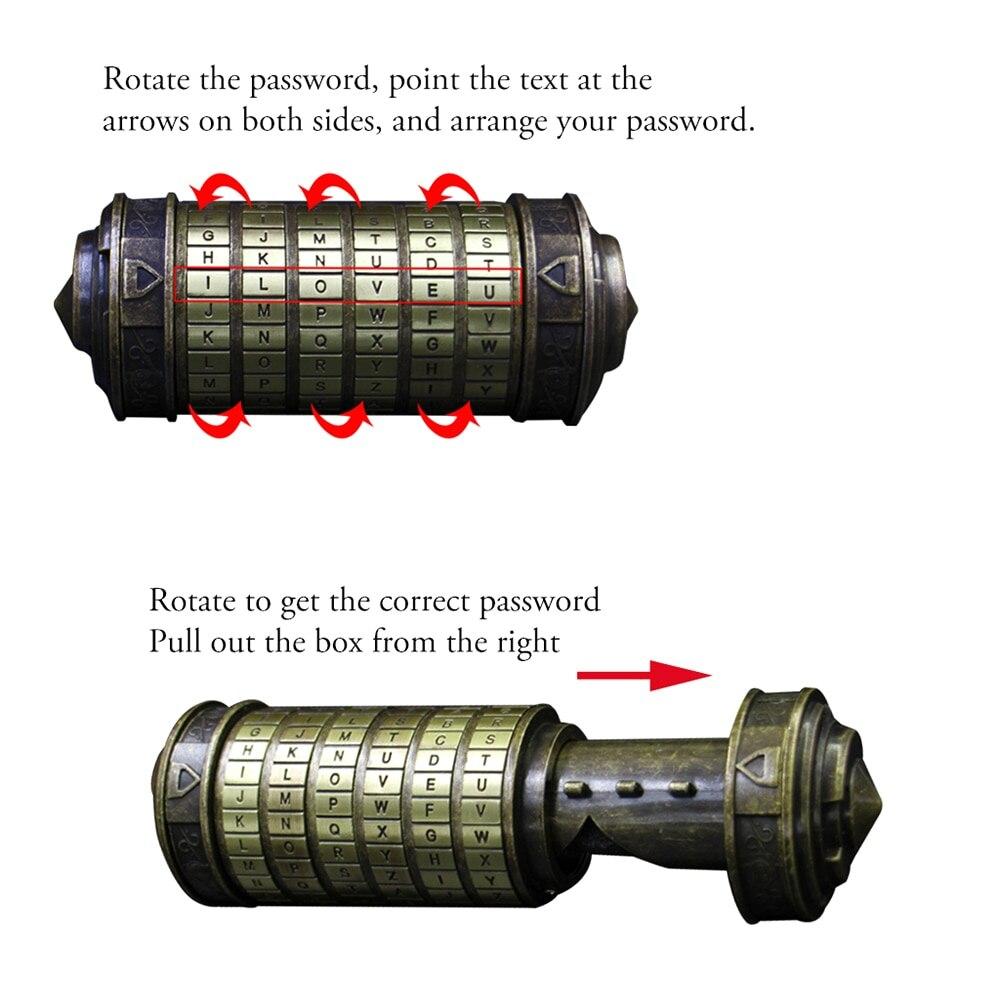 Serrure à Code Da Vinci serrures Cryptex en métal pour mariage serrure à combinaison de cylindre de mot de passe saint-valentin - 3