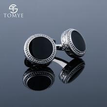 TOMYE Suit Shirt Sliver Black Enamel Wedding Luxury Cufflinks Men XK19S084