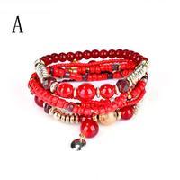 Fashion 1 Set Stretch Acrylic Beaded Bohemian Lady Bracelet Delicate High Quality