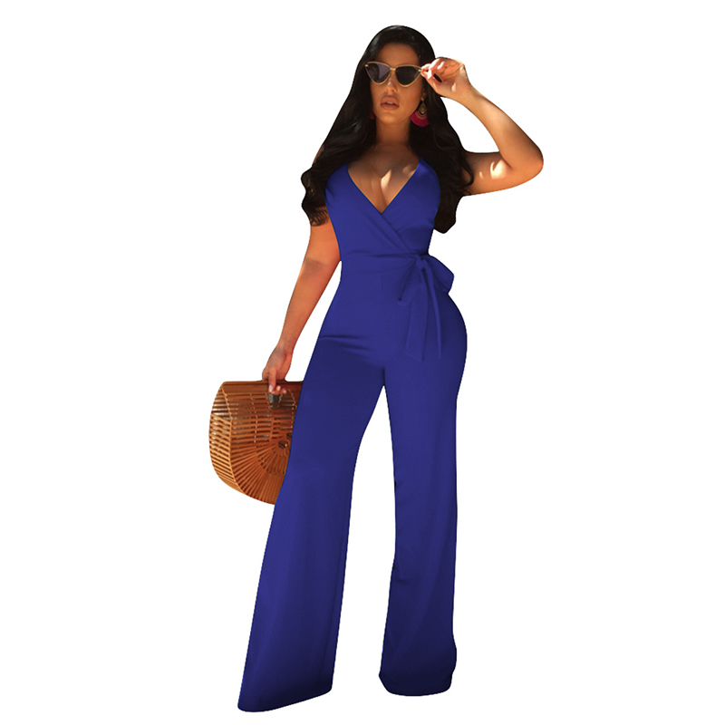 Classical V Neck Spaghetti Strap Combinaison Femme Jumpsuit Sleeveless Bandage Wide Leg White Rompers Womens Jumpsuit