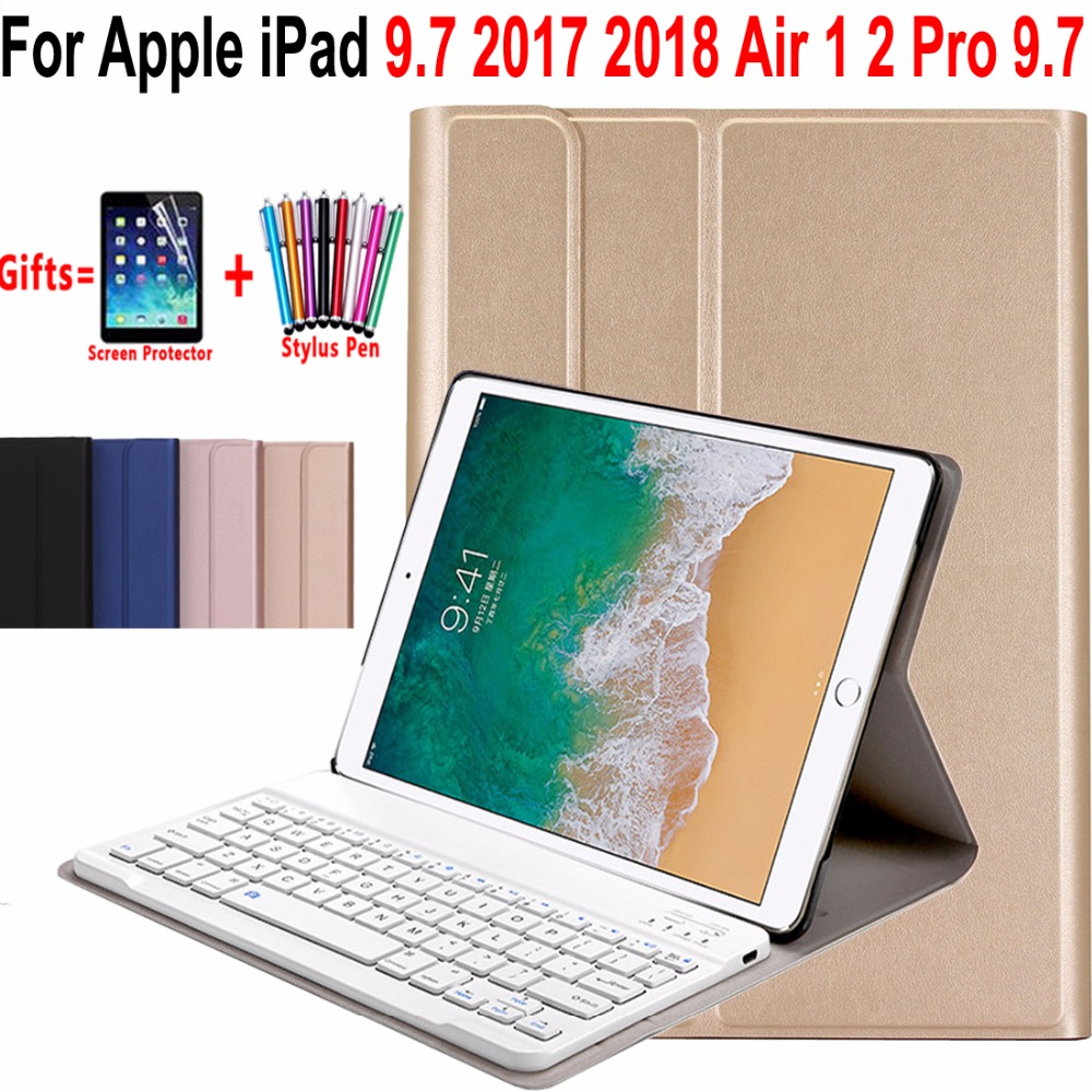 Slim Wireless Removeable Bluetooth Keyboard Case Cover for Apple iPad Air 1 2 Pro 9.7 5 6 New iPad 9.7 2017 2018 A1822 A1893