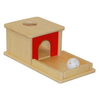 Montessori Material Object Permanence Box with Tray and Ball Kids Educational Toy