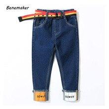 Benemaker de moda Pantalones vaqueros de Niño para niños otoño pantalones de cintura elástica de la ropa de los niños bebé niños pantalones de mezclilla pantalones casuales JH142