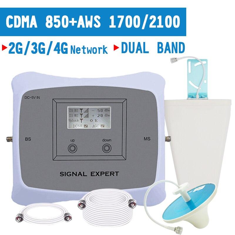 Полный Смарт Двухдиапазонный 2G 3g 4G Мобильный усилитель сигнала CDMA 850 AWS 1700 2100 mhz повторитель сигнала для сотового телефона 4G LTE усилитель 70dB
