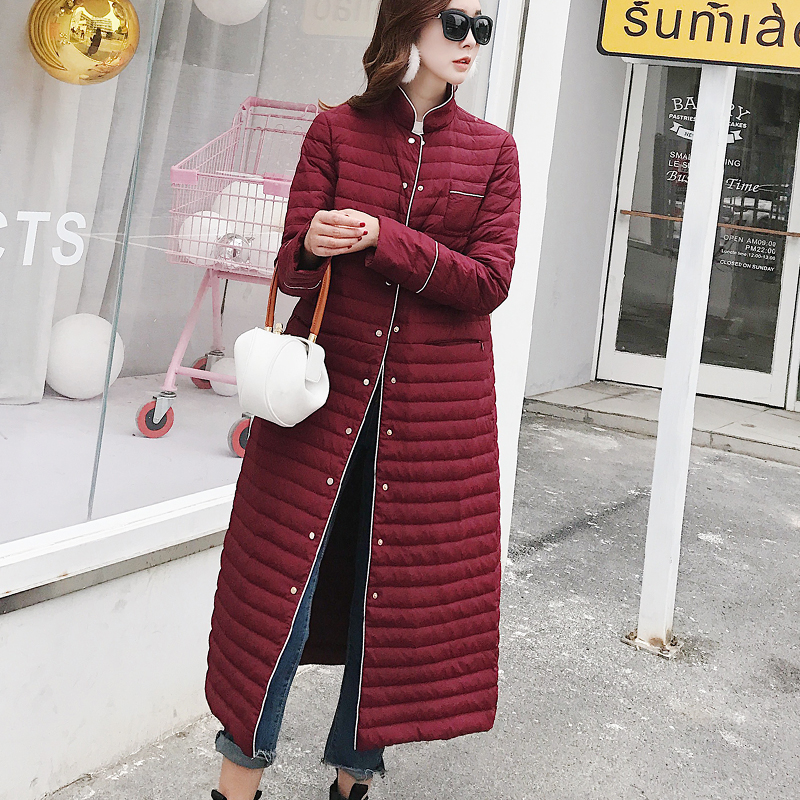 Omlesa New Arrival Fashion Solid Color X-Long Winter Women   Down   Jacket Winter Autumn Lightweight X-Long Duck   Down     Coat   YR4318