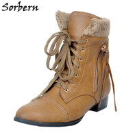 2017 Ankle Boots For Women Plus Size Botines Mujer 34 46 Lace Up Side Zipper Chaussures Femme Bottine Femme Ladies Party Boots