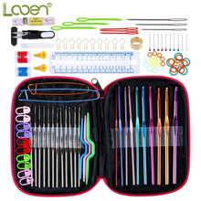 100 Pcs Looen Crochet Hook Set With Yarn Knitting Needles Sewing Tools Full Knit Gauge Scissors Stitch Holders Craft