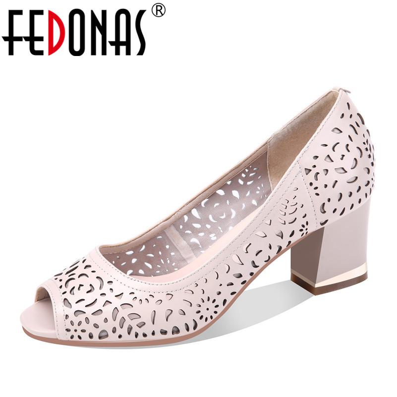 FEDONAS Women Sandals 2020 Genuine Leather Shoes Woman Summer Autumn Thick High Heels Wedding Party Shoes