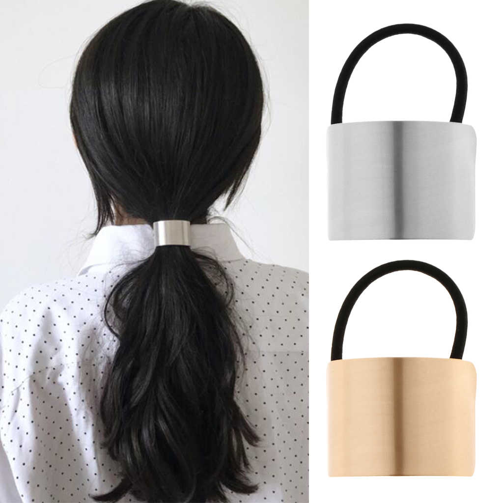 1 Piece Ladies Metal Gold Silver Hair Bands Ponytail Ring Cover Cuff Wrap Holder Elastic Rope Band Gift
