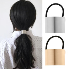1 Piece Ladies Metal Gold Silver Hair Bands Ponytail Ring Cover Cuff Wrap Holder Elastic Rope Band Gift(China)