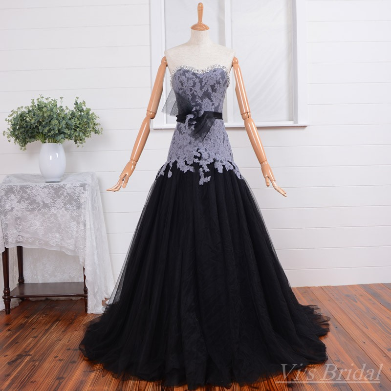Lace Fit And Flare Wedding Gown: New Style Real Picture Beaded Sweetheart Black Wedding