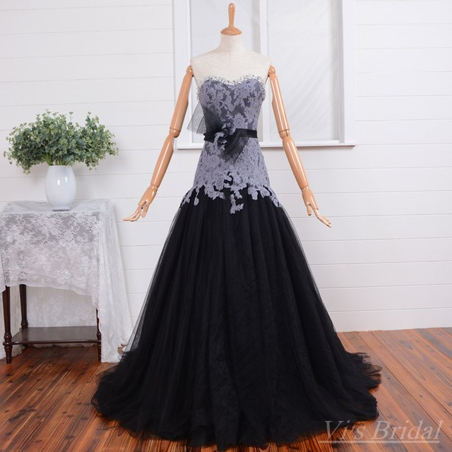 New Style Real Picture Beaded Sweetheart Black Wedding Dresses With
