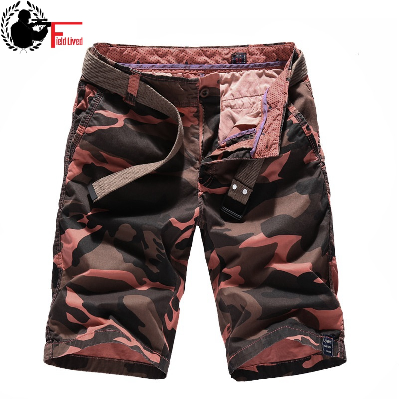 Cargo Shorts Bermuda Orange Military-Style Camouflage Breeches Army-Green Male Cotton